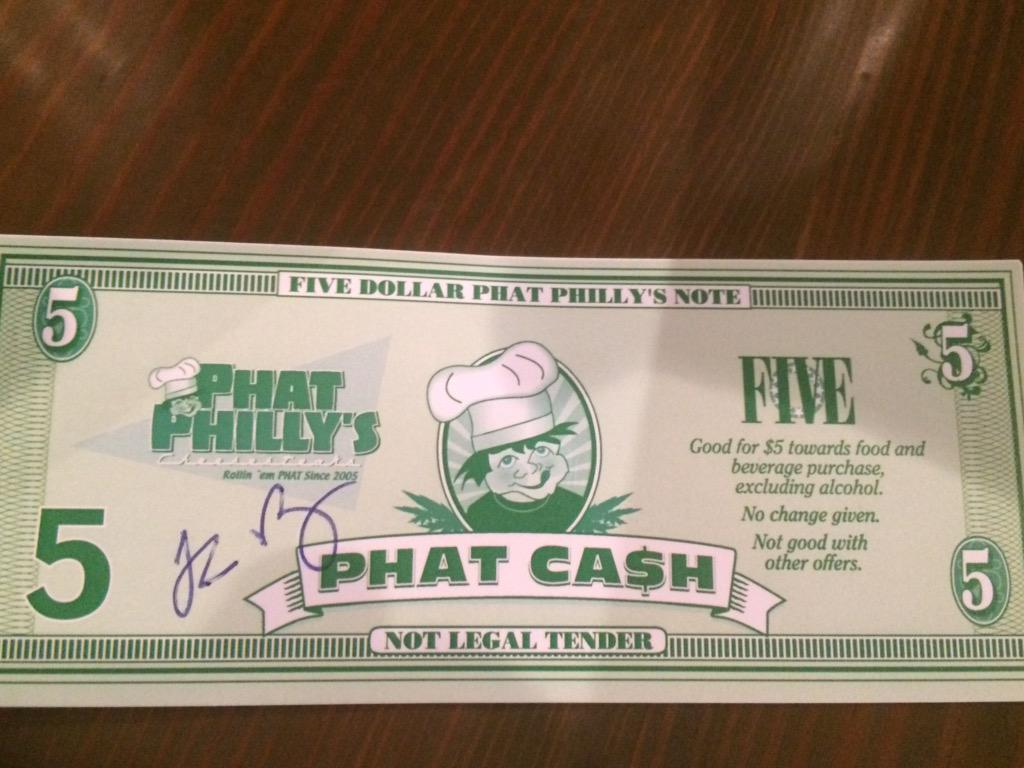 This is my Phat Philly Note aka the @phatphillys Food Stamp. #PhatPhillys #GetMePhat #SMTulsa http://t.co/bhH4mU9sgI