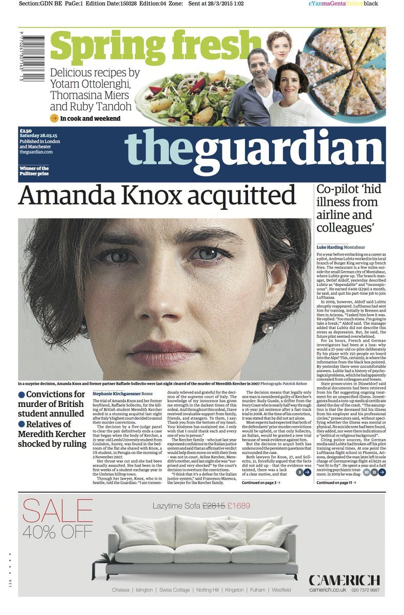 The Guardian front page, Saturday 28 March 2015: Amanda Knox acquitted http://t.co/107Gon25cv