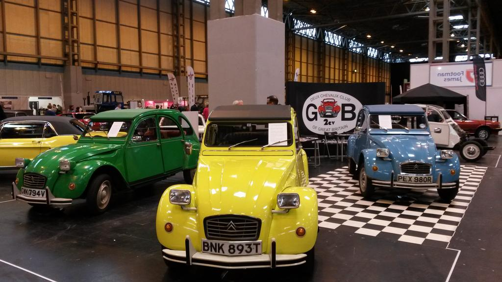 Citroen 2cv square headlamp 1970s colourful NEC Classic Restoration Show