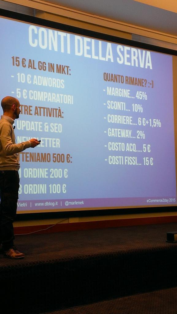 Ecco quanto resta dai conti della serva il 23% @marlenek #eCommerce2day #fattori #successo #ecommerce http://t.co/DyWgCJqQij