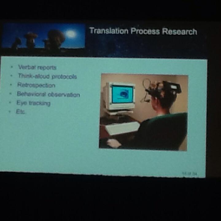 Geoffrey Koby: Some #translation research protocols are intrusive. Eye-tracking gear not very fashionable #MIISforum http://t.co/qBVpY0iU0C