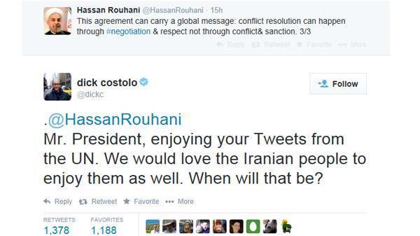 الرئيس الإيراني يغرد بفرح عبر حسابه في تويتر أثناء وجوده في نيويورك، والرئيس التنفيذي لموقع تويتر يقصف جبهته المباركة http://t.co/rh4rOyAffG