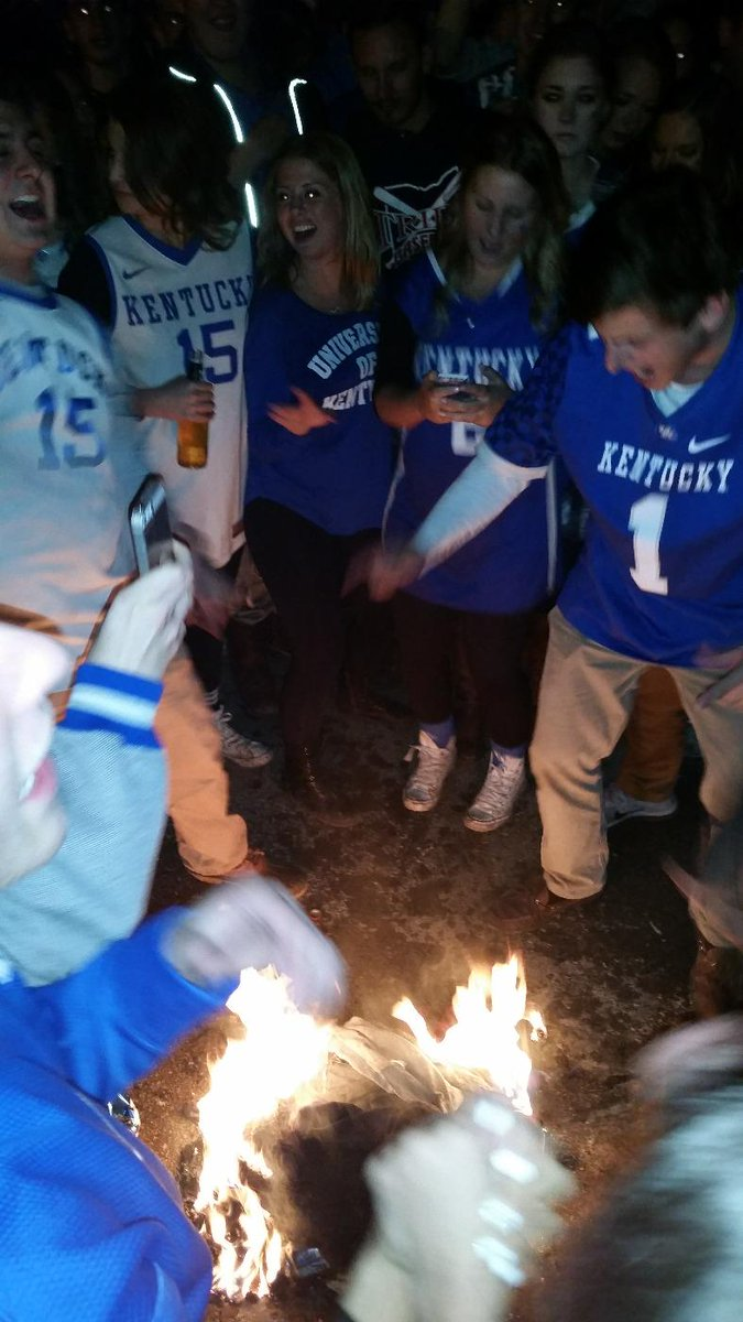 Yup, Kentucky fans are setting all sorts of stuff on fire after losing to Wisconsin