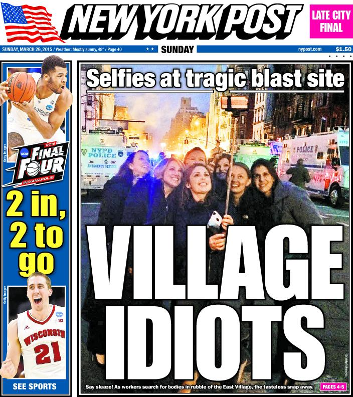 Disturbing Selfie of young women posing at site of NY Explosion