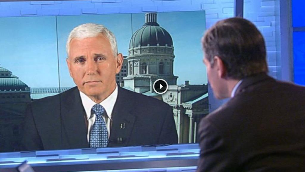 """Oy. @GovPenceIN refuses to say he's against #LGBT discrimination. Watch """"This Week"""" interview: http://t.co/gV93a1EkGk http://t.co/8A20ZDXwFU"""