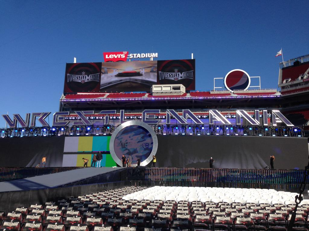 Funaki tweets out of an early photo of the WrestleMania 31 set