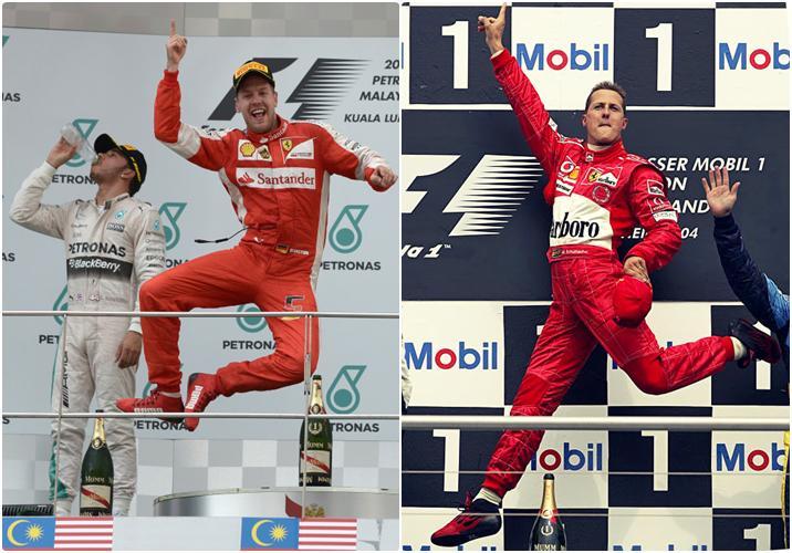Estos alemanes si que saltan con estilo... #Schumi #Vettel -- http://t.co/8oOP2TpQYl