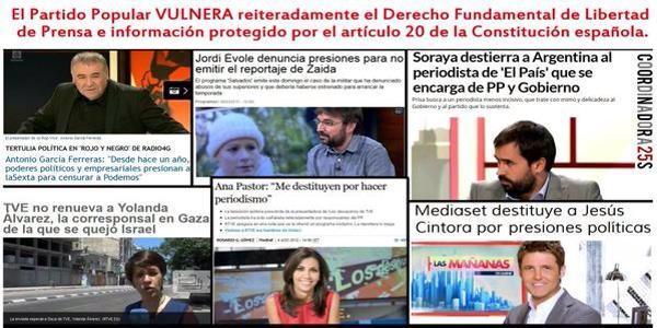 La libertad de prensa en España: En tanto en cuanto los banqueros son los dueños:Mal vamos #BoicotAnunciantesMediaset http://t.co/oenRTZFZ0W