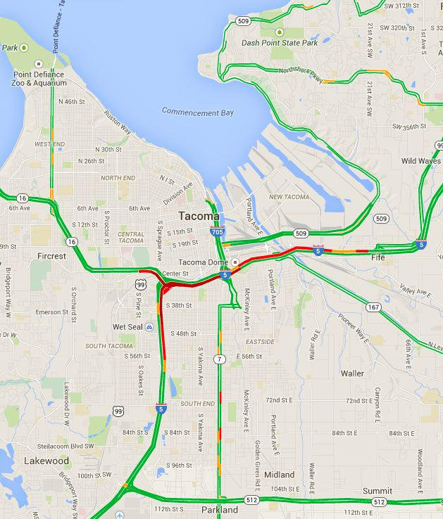 Traffic Map Tacoma.Live Map Heavy Sun Traffic On I 90 I 5 Surface Streets In