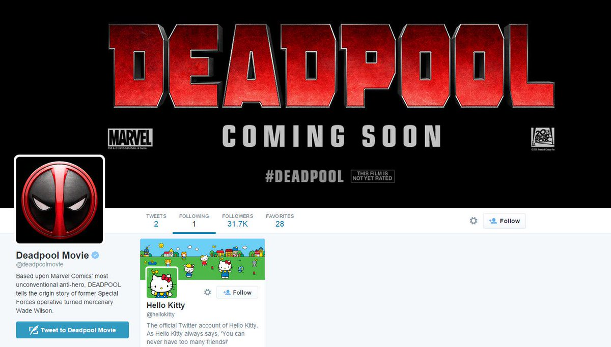 I love this. @deadpoolmovie only follows one person @hellokitty http://t.co/Fg8yhctCpp