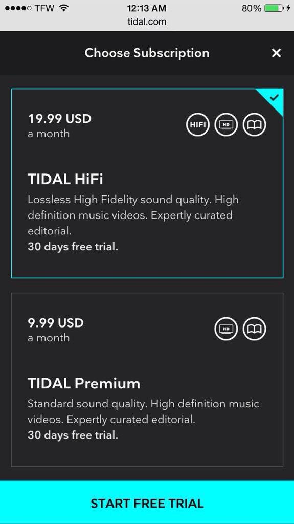 Hahaha. Nice try. $19.99 for a music streaming service? Nope. #Tidal #TIDALforALL http://t.co/AOhki7tg5N
