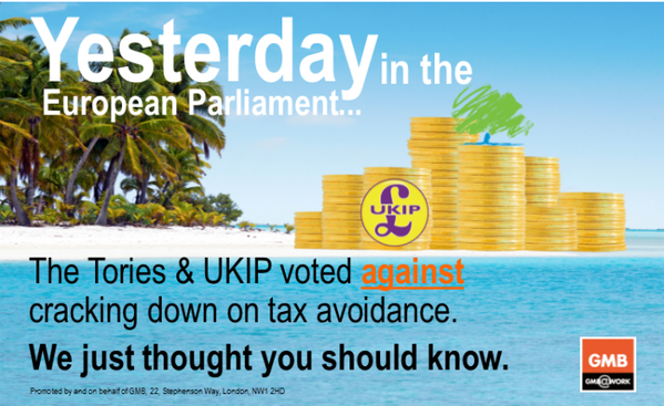 Parliament has dissolved but over in Europe the Tories & UKIP are still standing up for the rich @GMBPolitics #GE2015 http://t.co/bJ39nEeSVS