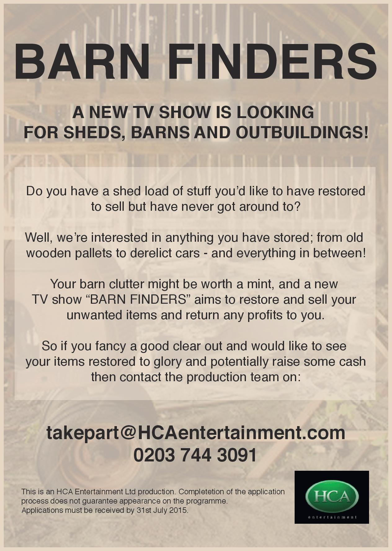 RT @BarnFinders: We are looking for #Barns, #OutBuildings & #Sheds filled with clutter for new UK television #restoration series! http://t.…