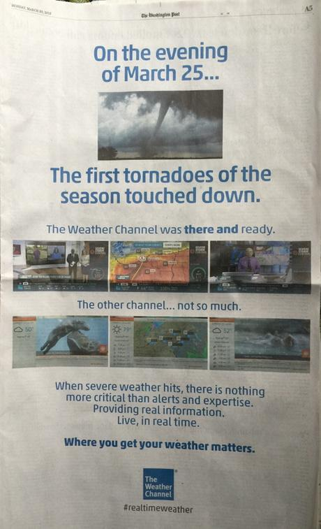 Full page add in today's Washington Post. The gloves are off #weatherwars? http://t.co/q5FnGl0Je9