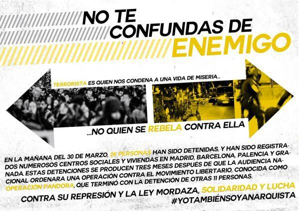 De camino a la concentración de Tirso de Molina #YoTambienSoyAnarquista #AtaqueALosCSOAS http://t.co/uG6zygTCAc