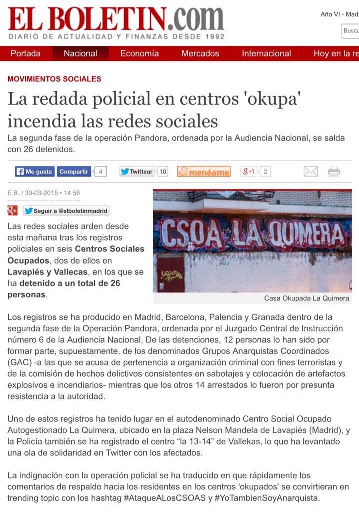 La redada policial en centros 'okupa' incendia las redes sociales http://t.co/L02bOyhwlu #YoTambienSoyAnarquista http://t.co/6EvcYIBsxj