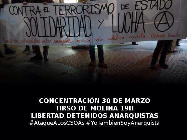 #HolaDictadura Se inventan amenazas xa justificar leyes fascistas. 19h Tirso #YoTambienSoyAnarquista #AtaqueALosCSOAS http://t.co/bnHifqdZp2