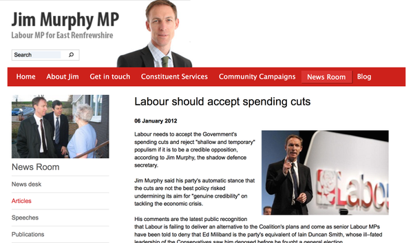 RT @ScotIndyDebate: Jim Murphy (deleted from his website) supports austerity (2012) http://t.co/WnK5HY8q0b