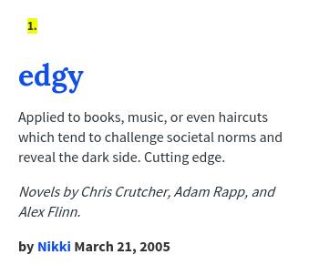 carter wroda on twitter what does edgy mean