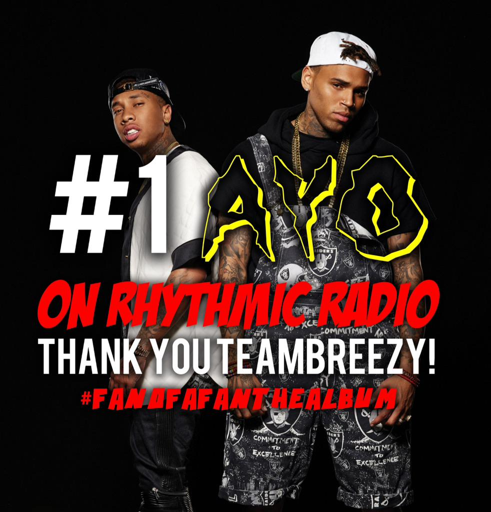 Thank you to the fans for making #AYO the number 1 record on Rhythmic Radio! #FanOfAFanTheAlbum http://t.co/wqRERqc0Wp