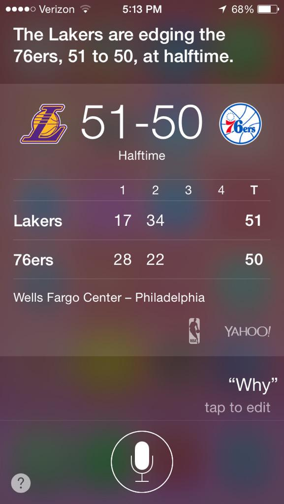 Even Siri doesn't know why the Lakers are winning this game http://t.co/nz6QtmwllI