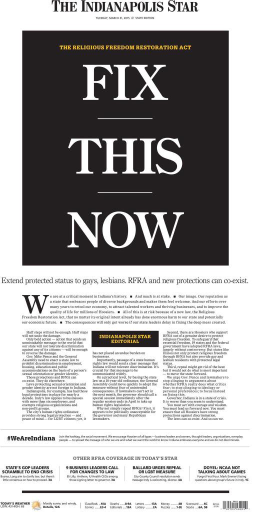 I gotta give The Indy Star big props for this: @karenferguson33: It's this important. Tuesday's front page. #rfra http://t.co/5aqbMRwIxB