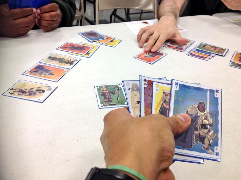 [Image: Playtesting a prototype of Trickster: Fantasy on March 30, 2015.]