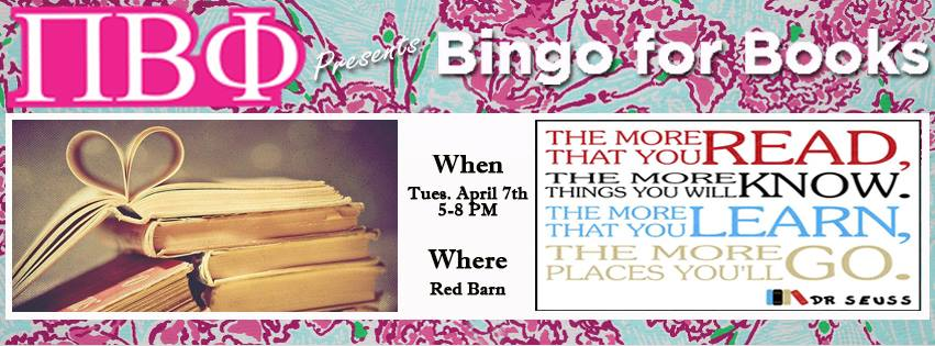 Pi Beta Phi is hosting Bingo for Books from 5 - 8 PM in the Red Barn, so come out and support! #PHC #BingoforBooks <br>http://pic.twitter.com/wXYSYnbHNL