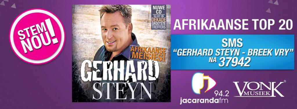"""SMS """"Gerhard Steyn - Breek vry"""" na 37942 @jacarandafm #JacarandaTop20 #AfrikaanseMeisies http://t.co/19Fgo2nElk"""