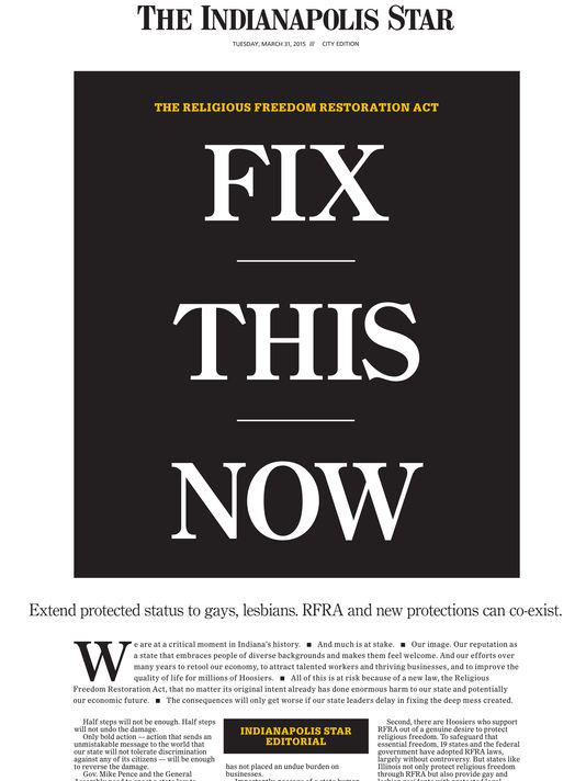 Here is our front page today. #RFRA #WeAreIndiana #SB101  Read the editorial here: http://t.co/VClq5d1azI