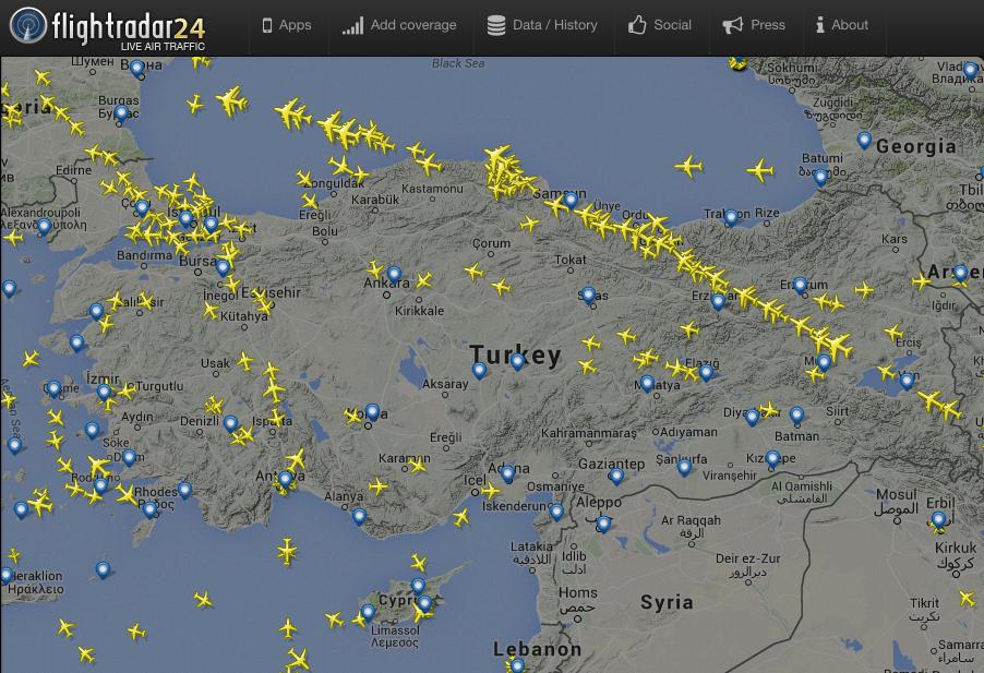 A repülők elkerülik Törökországot. Forrás: Flightradar24