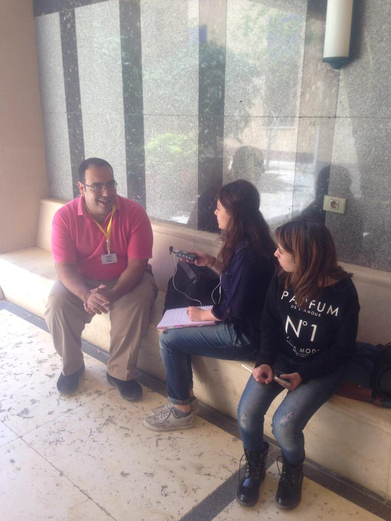 @Le_moo and @SarahYasser3 interviewing @Sandmonkey after his talk at #aucsmc. #JRMC2202 #AUC http://t.co/d1moNhtAKt