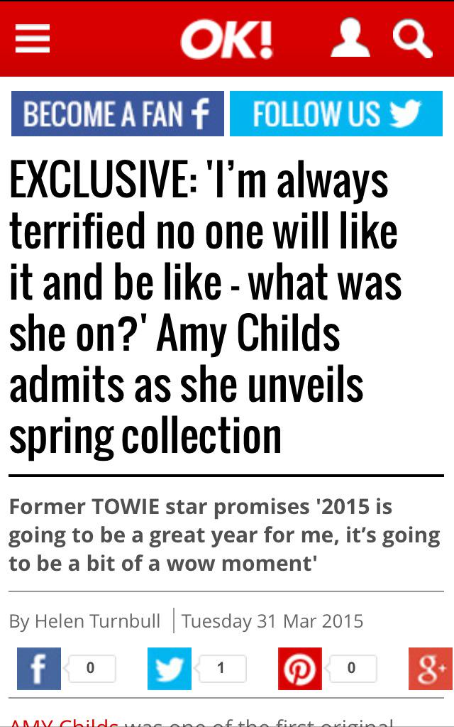 RT @PaigeAtCan: Thanks to @OK_Magazine for a great piece on @MissAmyChilds & @AmyCCollection 👌 @ClaireAtCan http://t.co/At24NeAwW0 http://t…