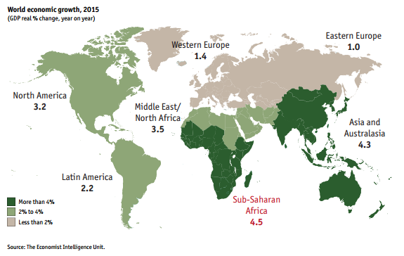 Sub-Saharan #Africa GDP to grow at 4.5% in 2015, the world's fastest-growing #economic zone http://t.co/hsVa49GnrM http://t.co/rEkhVhyUwC