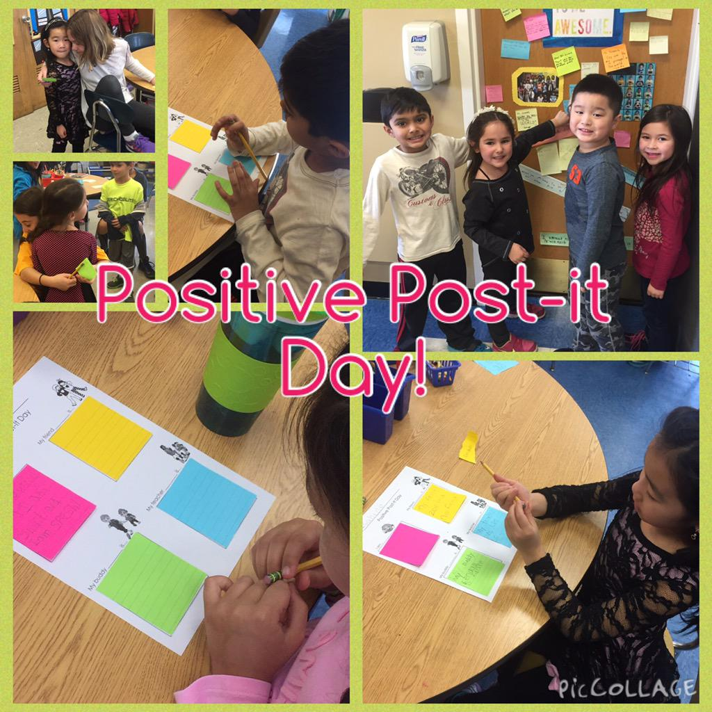 Positive Post-it Day! We wrote positive messages to ourselves and others to fill buckets! #cantiague @TonySinanis http://t.co/tkWgtydCvC