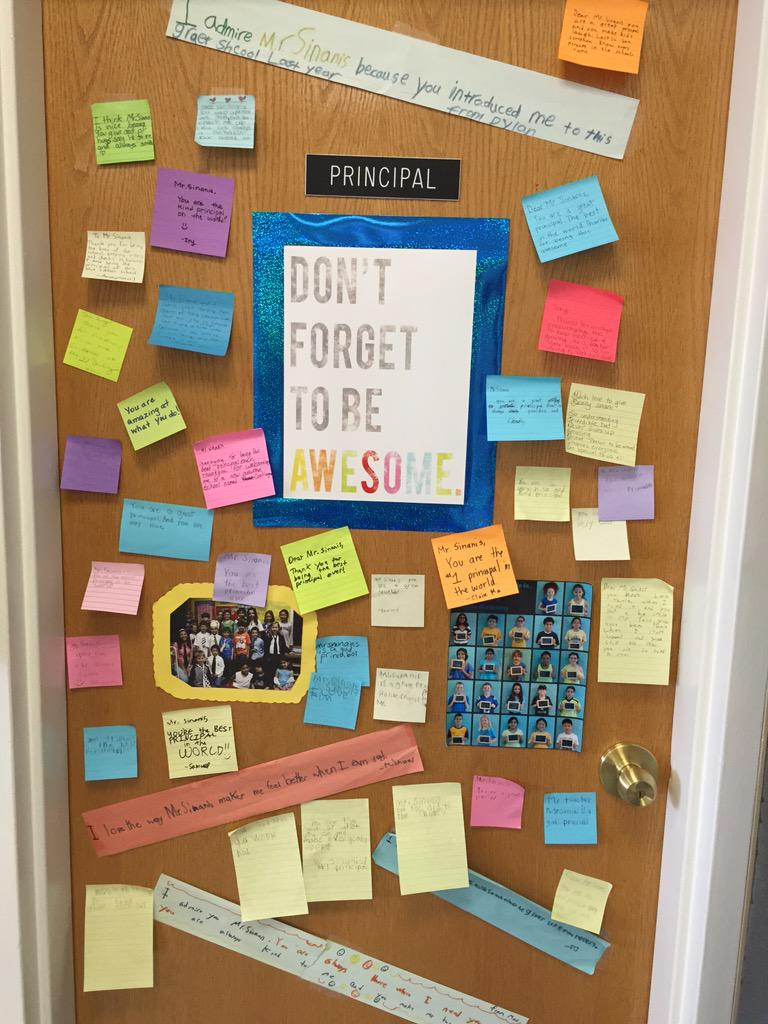 Finding your door covered in post-it's on #PositivePostItDay at #Cantiague... Priceless. Best. Job. Ever. http://t.co/mJ5S5PgVfD