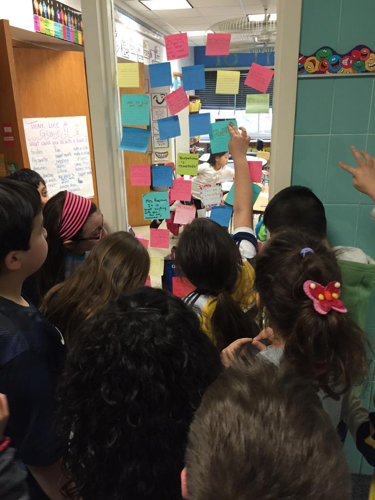 #Cantiague Gr 3 kids collecting their post-it's- they are so excited! #PositivePostItDay http://t.co/rlTdSgUoo3