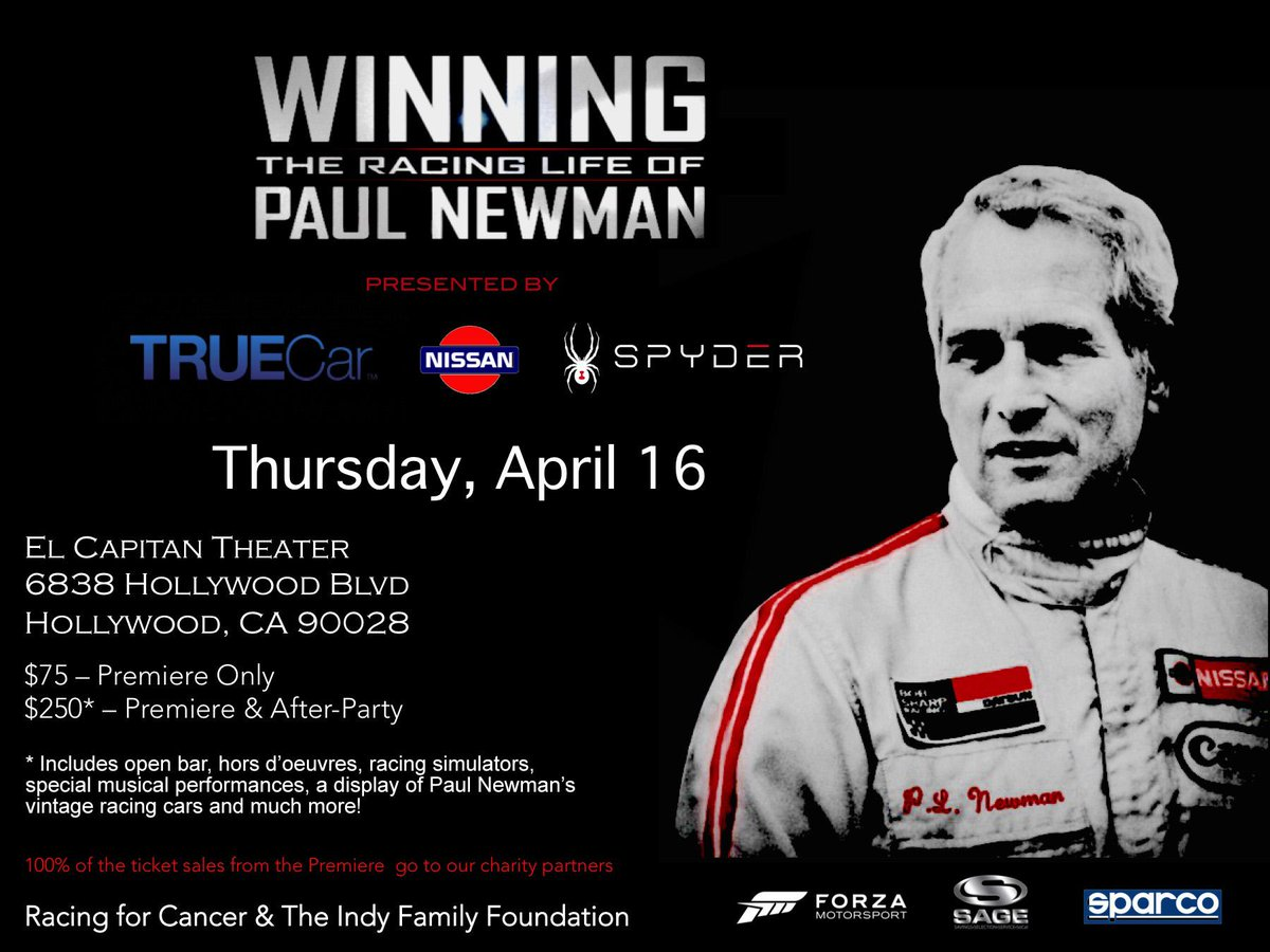 See the premier of @NewmanRaceFilm April 6th. 100% of ticket price goes to charity. http://t.co/AIkWeEHlZI http://t.co/LgpUUNKpfn