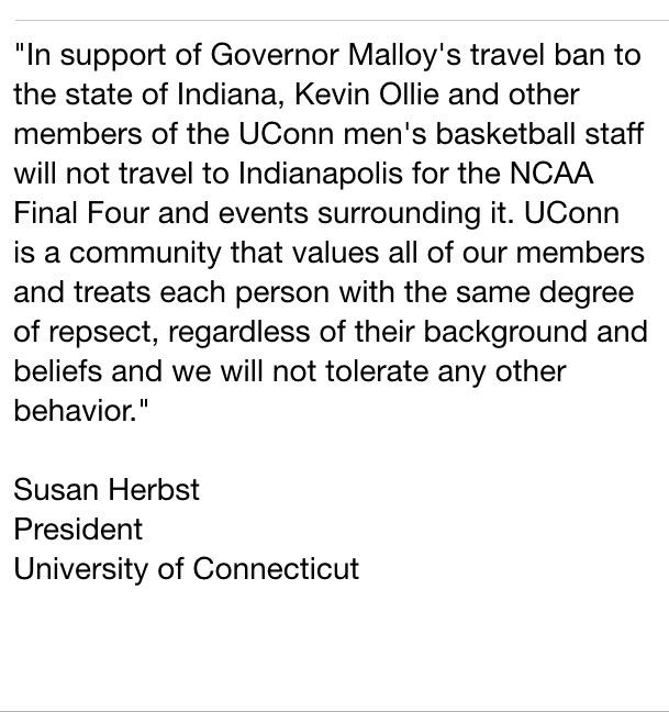 Wow. UConn coach Kevin Ollie & staff will not travel to Indiana for Final Four. (via @PaulDoyle1) http://t.co/yF3foDCwSN