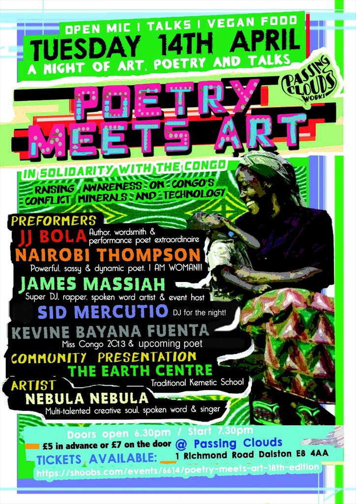 RT @CarpeDiemNights: Wanna see the multi talented @JJ_Bola perform? Get down to #PoetryMeetsArt @passingclouds on 14th for #Congo | £5* htt…