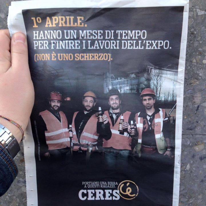 Dopo quella per assoluzione Berlusconi, nuova campagna di istant marketing per Ceres #pescedaprile #expomilano2015 http://t.co/i3eU0gye18
