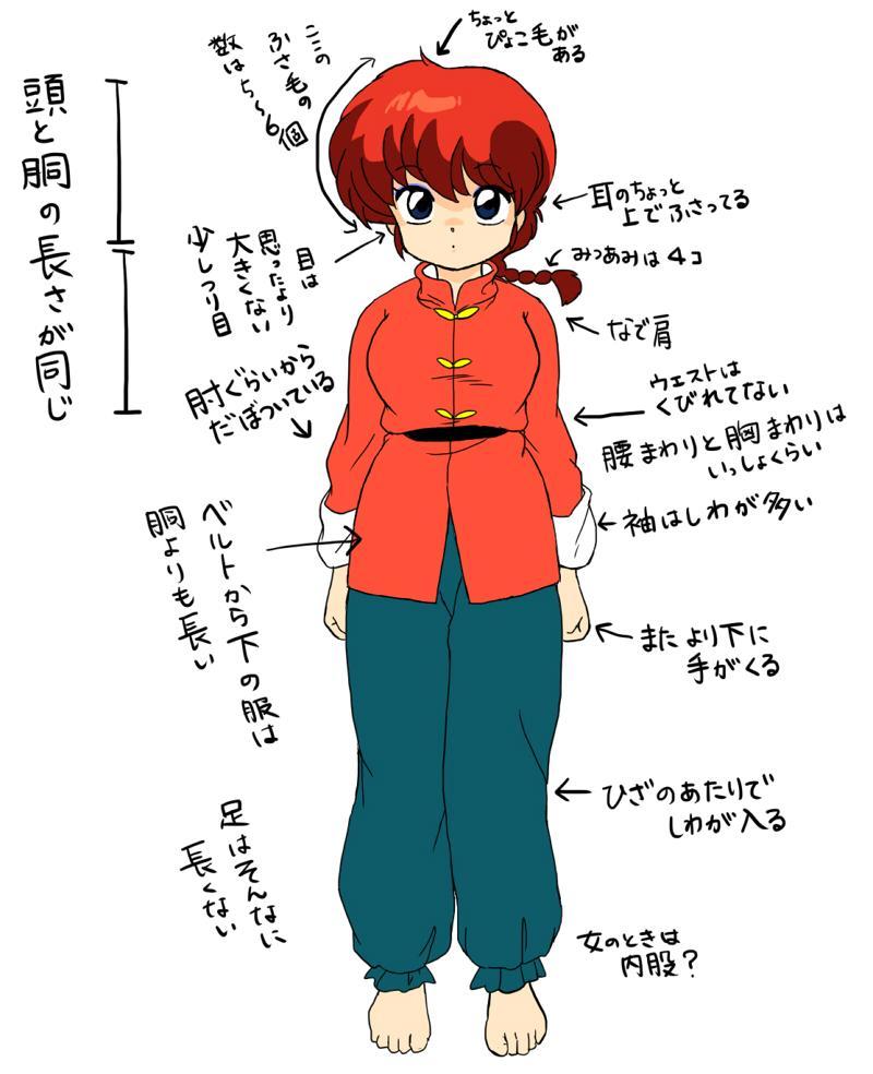 アニメ中期のらんまの体型が好きすぎて研究してた pic.twitter.com/DJexYpxkDo