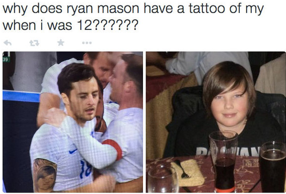 """... like a 12-year-old boy  http://www.buzzfeed.com/patricksmith/this-footballers-tattoo-looks-exactly- like-a-12-year-old-boy … pic.twitter.com/ofasm12Cmo"""" ..."""