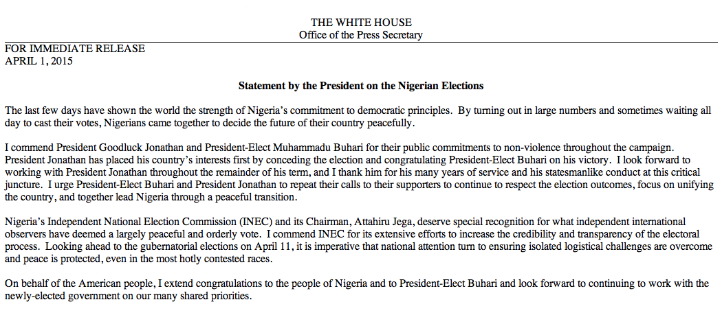 White house archived on twitter i extend congratulations to the white house archived on twitter i extend congratulations to the people of nigeria and to president elect buhari obama on the nigerian elections m4hsunfo