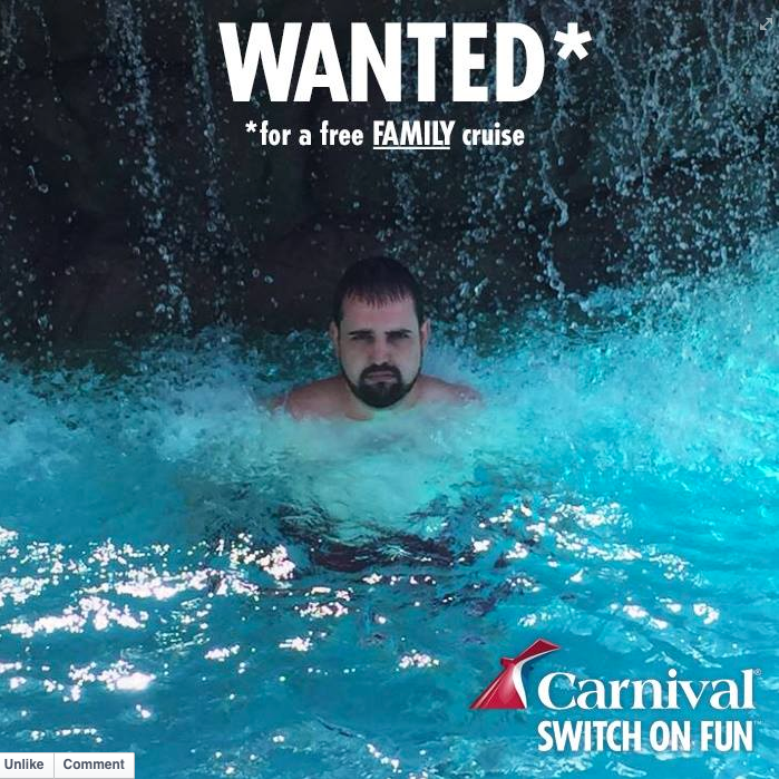 Carnival Cruises are looking to get in touch with the guy who couldn't take his wife to Puerto Rico http://t.co/L5xyXk1kHm