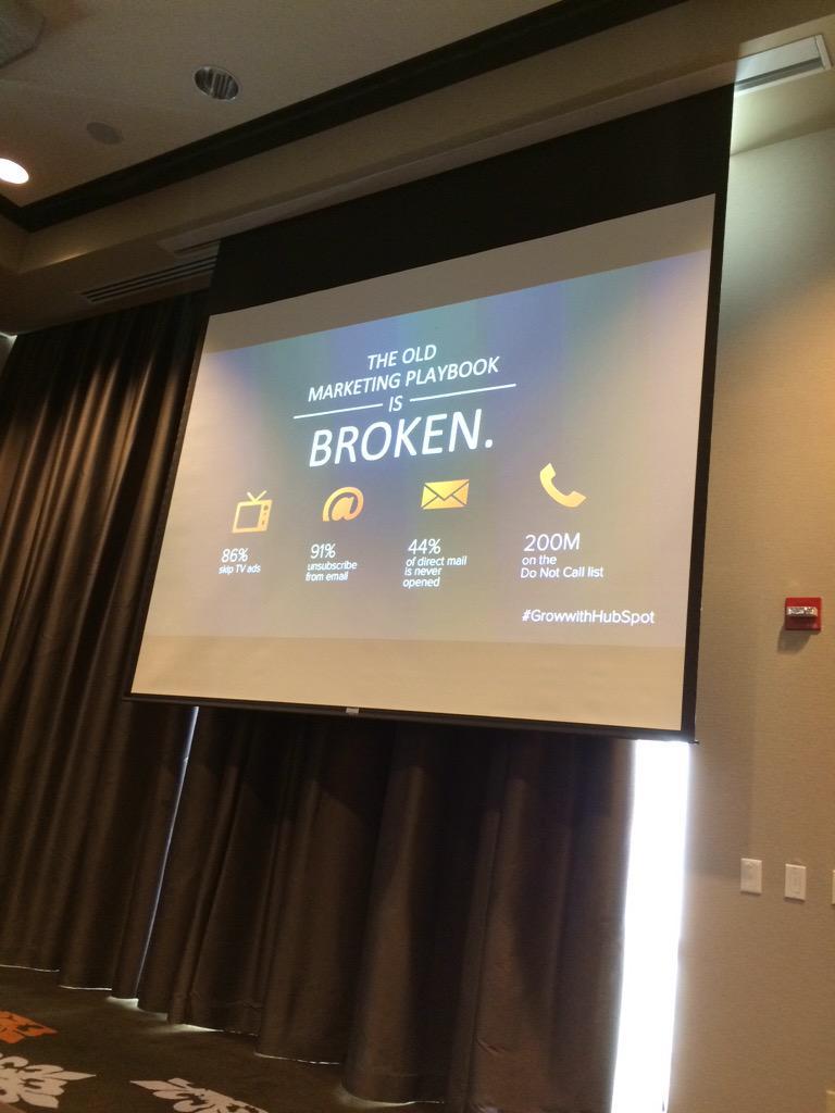 Marketing is broken. Let's fix it. @kippbodnar #GrowwithHubSpot http://t.co/j1wX5HxbdG