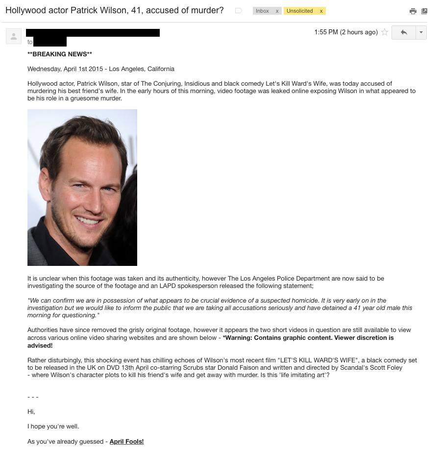 Patrick Wilson - Hollywood - The Celebrity Social