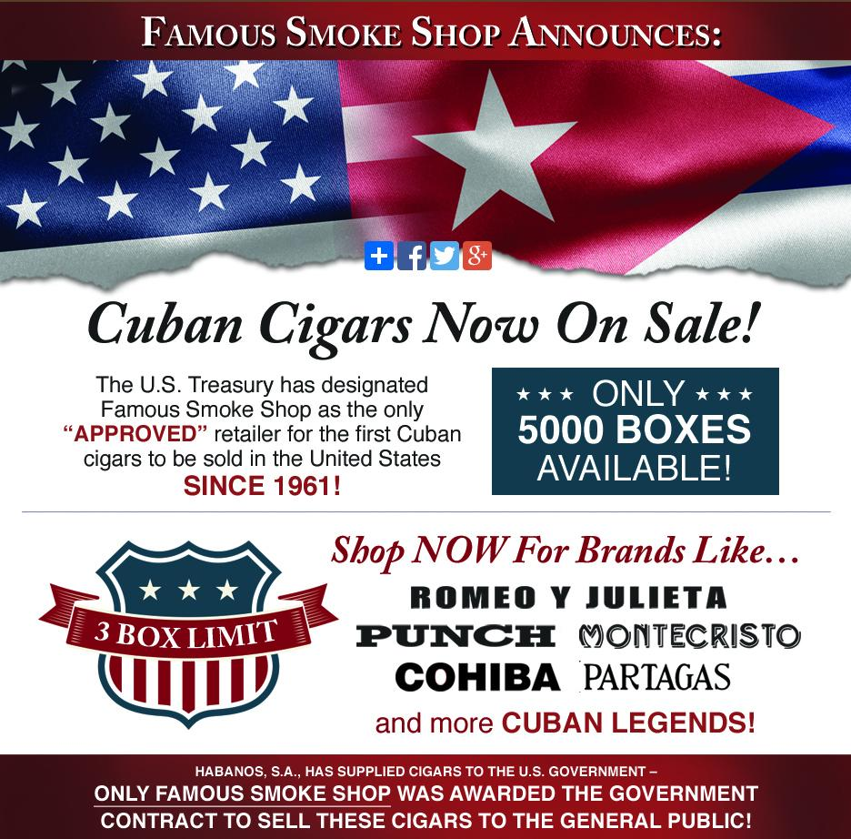 It's official! For the first time since 1961, Cuban Cigars are on sale at @FamousSmokeShop http://t.co/USM5WRoGlH http://t.co/LbmGQmNWu3