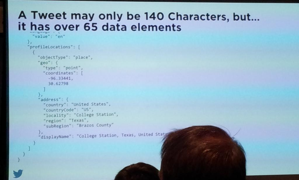 140 chars and a payload of 65 meta data  descriptors... #socialdatauk http://t.co/75oaWfHI6P