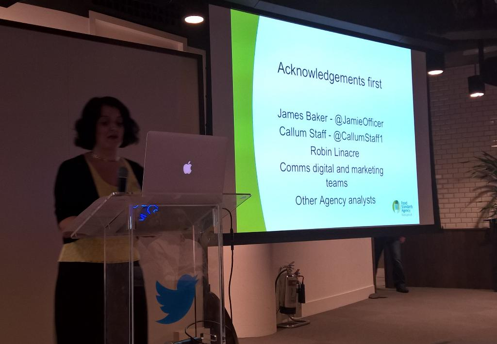 .@drsiant of The Food Standards Agency speaking about how they use Twitter Data. #socialdata #socialdatauk http://t.co/HnmnTQp5I7